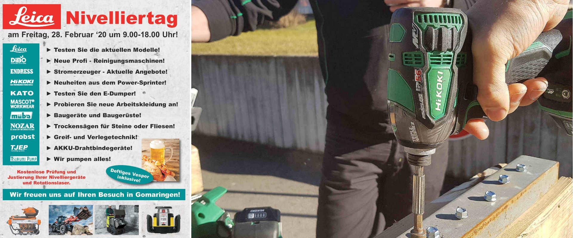 Nivelliertag und Hausmesse 2020 bei Niklaus Baugeräte in Gomaringen