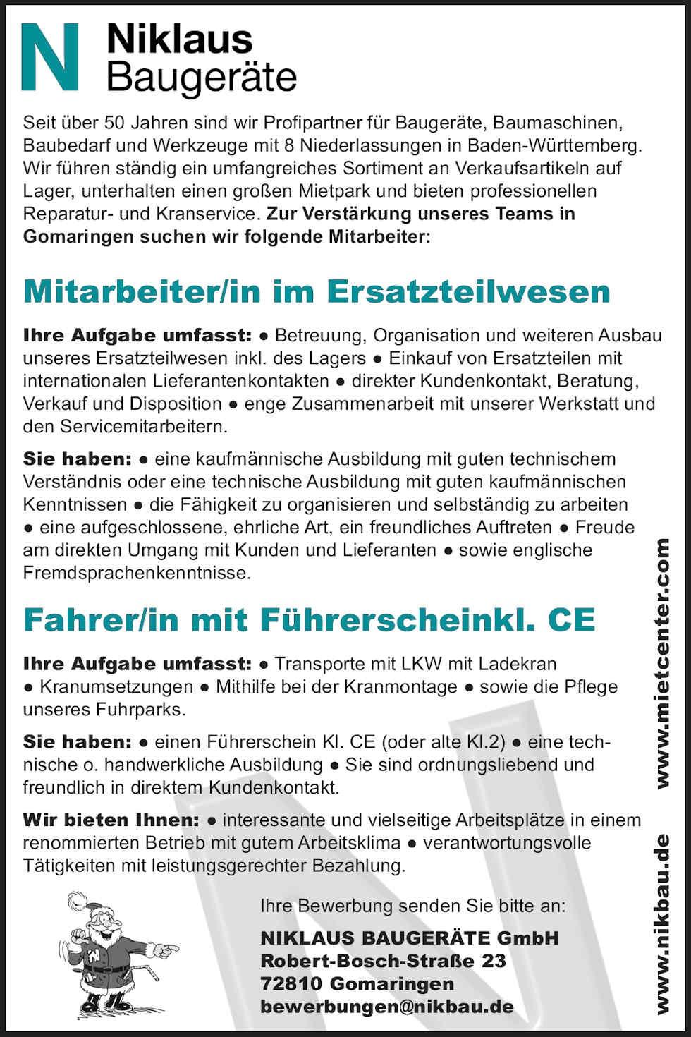 Stellenausschreibungen für Niklaus Baugeräte in Gomaringen im Mai 2019