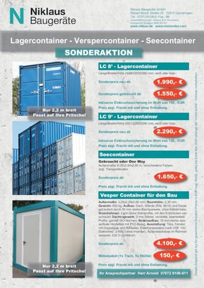 Sonderaktion Container bei Niklaus Baugeräte Frühjahr 2020