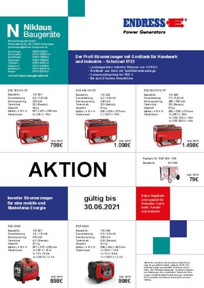 Aktion für Stromerzeuger von Endress bei Niklaus Baugeräte 2021