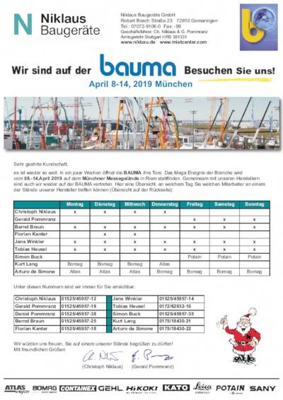 Niklaus Baugeräte auf der bauma München 2019