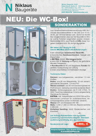 Sonderaktion WC-Box Toilettencontainer