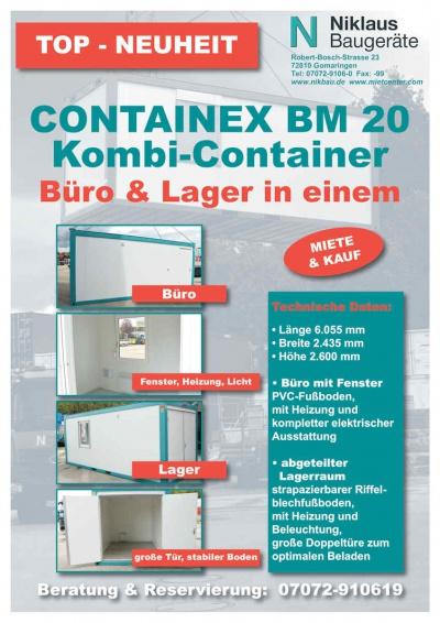 Der Kombi-Container Containex BM 20 ist erhältlich bei Niklaus Baugeräte