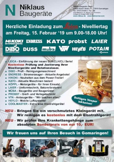 Leica Nivelliertag bei Niklaus Baugeräte am 15.02.19 in Gomaringen