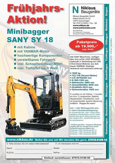SANY Minibagger SY18 Frühjahrsangebot 2019