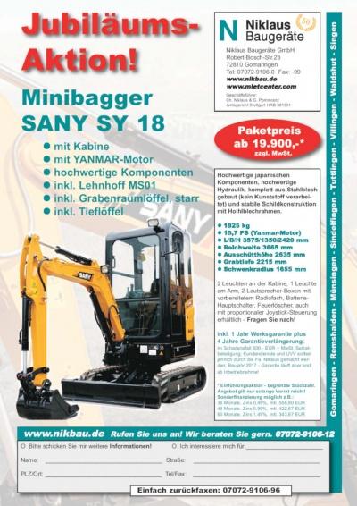 Sany SY Minibagger als begrenzte Jubiläums-Aktion