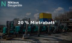Mietgutschein Niklaus-Baugeraete - Sparen Sie mit unseren Mietgutscheinen 20% auf den Tagesmietpreis. Einlösbar in allen unseren 8 Filialen in Baden-Württemberg
