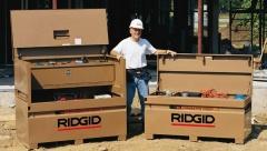Baustellenboxen und Container von Ridgid sind die idealen Lösungen für Sicherheit und Flexibilität auf der Baustelle.