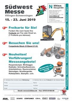 Niklaus Baugeräte auf der Südwest Messe vom 15-23. Juni 2019